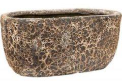 Grijze Baq Design Baq Lava Oval M 38x24x19 cm Relic Rust Metal bloempot binnen