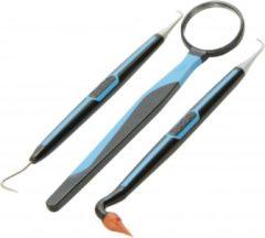 Blauwe Dentek tandartshaakje - inclusief mondspiegel en tandvleesmassager