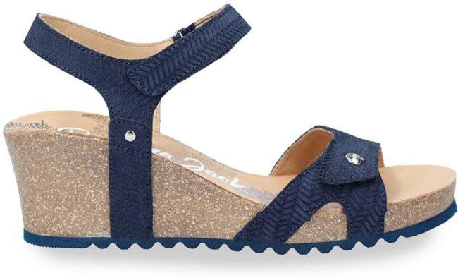 Afbeelding van Panama Jack Julia Menorca B2 sandalen met sleehak blauw - Maat 38