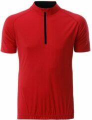 James & Nicholson Fusible Systems - Heren James and Nicholson Half Zip Fietsshirt (Rood/Zwart)
