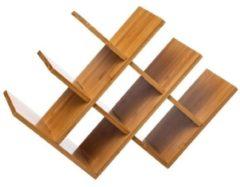 Orange85 Wijnrek - Bamboe - voor 8 flessen - Raster - Opslag - Bruin - Rek voor wijn - 46.5 x 16.5 x 31 cm