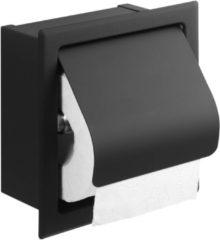 Saqu Essential inbouw toiletrolhouder mat zwart