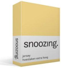 Snoozing jersey hoeslaken extra hoog - 100% gebreide jersey katoen - 1-persoons (70x200 cm) - Geel