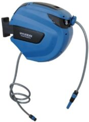Blauwe Hyundai wandslangenbox / wandslangbox / autoreel / wandslanghaspel / wandslanghouder / muurhaspel - 30 meter x 12,5 mm - inclusief 4-delige tuinsproeiset