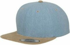 Yupoong Chambray-suede classic snapback Blauw / Beige