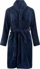 Marineblauwe Relax Company Kinderbadjas - donkerblauw - fleece - meisjes & jongens - ochtendjas- maat 134/140