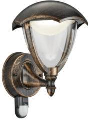 Transparante TRIO, Wand lamp, Gracht incl. 1 x LED,SMD,6,0 Watt,3000K,650 Lm. Armatuur: Gegoten aluminium, Roestkleur antiek L:20,0cm, H:29,0cm, Ø:22,0cm Bewegingssensor,Wand montage,IP44