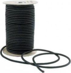 ABC-Led 50 meter Elastisch Touw - 8mm - ZWART - elastiek op rol