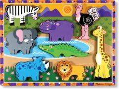 Melissa & Doug Chunky safari dieren houten vormenpuzzel 8 stukjes