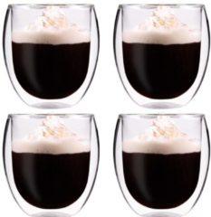Feelino Dubbelwandige Koffieglazen 310ML - Set van 4 Stuks Theeglazen Dubbelwandig