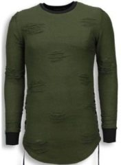 Groene Sweater John H Destroyed Look Trui - Side Laces Long Fit Sweater