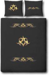 Gouden Cover & Co Covers & Co Golden Ornament Dekbedovertrek - Eenpersoons - 140x200/220 cm - Zwart
