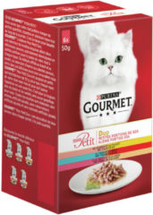Purina Gourmet Mon Petit Duo Vis en Vlees - Zalm en Kip - Kattenvoer - 6 x 50 g