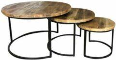 Bruine Home67 AnLi-Style Salontafel Denver Mango| Set van 3 | Rond met zwart metalen onderstel