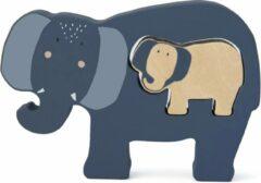 Blauwe Trixie houten babypuzzel   Mrs. Elephant   Baby puzzle   Speelgoed