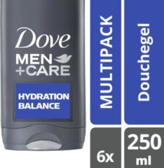 Dove Men + Care Hydration Balance - 250 ml - Douche Gel - 6 stuks - Voordeelverpakking