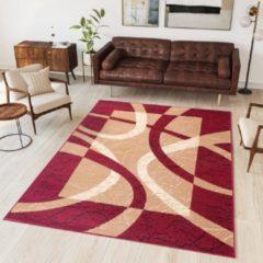Tapiso Dream Vloerkleed Korte Stapel Woonkamer Slaapkamer Rood Creme Frame Lijnen Design Modern Interieur Woonsfeer Duurzaam Tapijt Maat - 180 x 250 cm