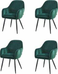 Eetkamerstoelen set 4 stuks Velvet - Troon Collectie - Groen - Eetkamer stoelen - Extra stoelen voor huiskamer - Dineerstoelen – Tafelstoelen