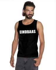 Zwarte Shoppartners Eindbaas tekst singlet shirt/ tanktop zwart heren XL