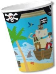 Fun & Feest Party Gadgets Bekers piraten eiland 8x - kartonnen wegwerpbekertjes