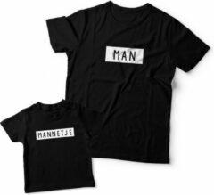Eenmannenkado.nl Matching shirts Vader & Zoon | Man - Mannetje | Papa maat L & Zoon maat 62