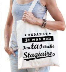 Creme witte Shoppartners Cadeau tas naturel katoen met de tekst Fantastische stagiaire - kadotasje / shopper voor stagiaire dames