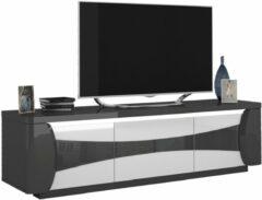 Ameubelment Tv-meubel Tiago 180 cm breed in hoogglans antraciet met wit