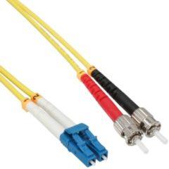 Gele ACT 50 meter LSZH Singlemode 9/125 OS2 glasvezel patchkabel duplex met LC en ST connectoren RL7950