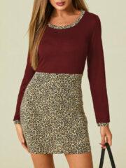 Marineblauwe YOINS Leopard Patchwork O-neck Print Dress
