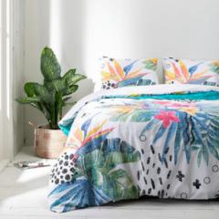 Witte Fresh&Co Fresh & Co - Eenpersoons Dekbedovertrek Graphic Flowers 140x220 cm - Katoen - Dekbedovertrek met kussensloop