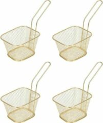 Goudkleurige Merkloos / Sans marque 4x Patat/snack serveermandje/frituurmandje goud 20 cm - Tafeldecoratie - Patat/snack serveren in een mandje