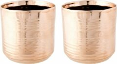 Cosy @ Home 2x Koperen ronde plantenpotten/bloempotten Cerchio 13 cm keramiek - Plantenpot/bloempot metallic koper - Woonaccessoires