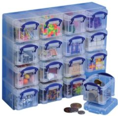 Really-Useful-Box Organizer met 16 plastic dozen 0,14 L Really Useful Box ongekleurd