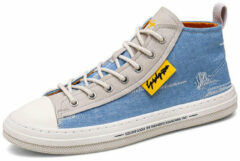 Newchic Men Washed Canvas High Top Lace Up Breathable Sneakers