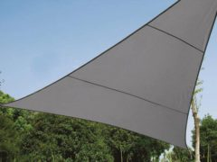 Antraciet-grijze Perel SCHADUWDOEK -WATERDOORLATEND ZONNEZEIL - DRIEHOEK - 3.6 x 3.6 x 3.6 m - KLEUR: ANTRACIET