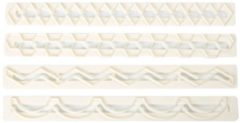 Creme witte FMM Straight Frill Cutters no.5 (Geometric Edging)