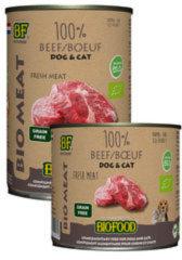 Biofood organic hond 100% rund blik hondenvoer 400 gr