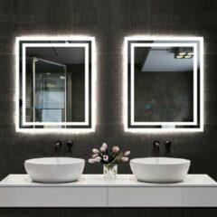 Aica Sanitair LED rechthoekige badkamerspiegel 80x60cm,4mm dubbele licht banen wandspiegel,enkele touch sensor schakelaar,koud wit,anti-condens