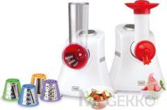 Trebs 99277 - Keukenmachine - Groentesnijder en sorbetijsmaker in één met 5 inzetstukken - Wit
