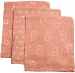 Oranje Briljant Baby Briljant Nijntje Smile Coral Pink Hydrofiel Washandjes 3 stuks 45R