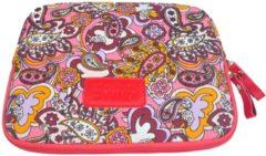 Rode Kinmac – Laptop/Tablet Sleeve met Paisley print tot 10 inch – 27 x 21 x 1,5 cm - Roze/Rood