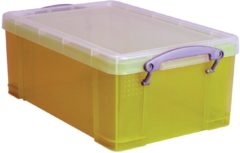 Really Useful Boxes RUB gekleurde transparante opbergdoos 9 l geel