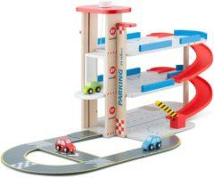 New Classic Toys houten parkeergarage met autobaan en 3 auto's