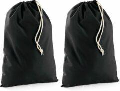 Bellatio Design Pakket van 20x stuks zwart katoenen canvas opberg zakjes/tasjes met afsluitkoord 10 x 15 cm - cadeau tasjes/goodie bags