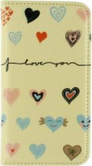 Beige Mobilize Magnet Book Card Stand Case Samsung Galaxy Alpha I Love You