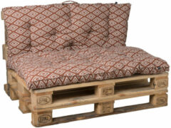 Living Luxury Palletkussens | Set van twee Terra/Wit | Luxury Item voor in de tuin
