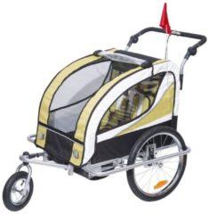 2 in 1 Fahrradanhänger für 2 Kinder HOMCOM gelb, weiß, schwarz