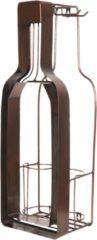 CLAYRE & EEF | FLESSENHOUDER MET KURK EN GLAS HOUDER 20*17*63 CM | CHOCOLA | IJZER | FLES | 5Y0630