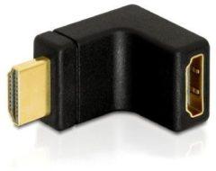 Zwarte DeLOCK HDMI Stecker <gt/> HDMI Buchse 90° oben HDMI 1.3 HDMI 1.3 Zwart kabeladapter/verloopstukje