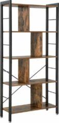 Bruine Vasagle Boekenkast hout en metaal met 4 niveaus in industrieel design 74x30x155cm | Vintage opbergkast | Archiefkast met veel opbergruimte | Stabiele en duurzame constructie | Eenvoudige montage | Houten kast
